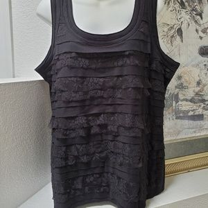 Chicos black layerd lace tank top